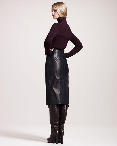 Brackley Double-Zip Leather Skirt