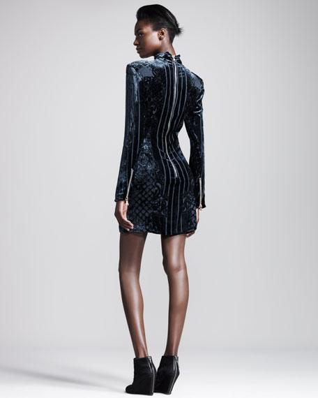 Velvet Devore Mock-Neck Dress