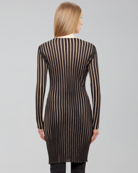 Ribbed Long-Sleeve Cashmere-Silk Dress