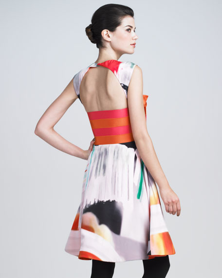 Printed Silk Origami Dress