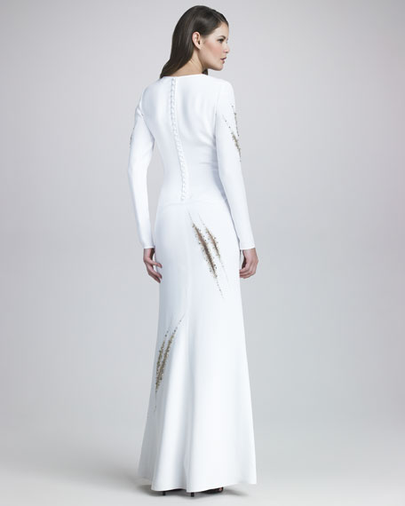 Beaded Long-Sleeve Gown, White