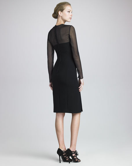 Mesh-Slash Crepe Dress, Black