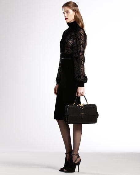 Velvet-Yoke Bell-Sleeve Dress
