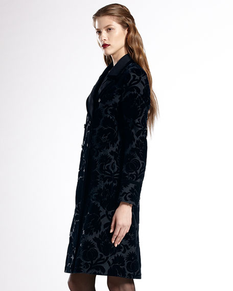 Double-Breasted Thistle Jacquard Coat