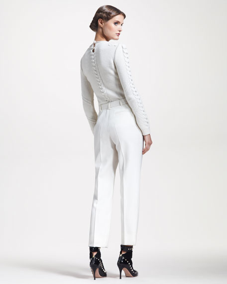 Pleated Cropped Pants, Ivory