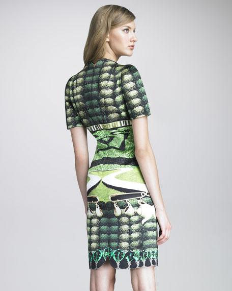 Cartel Printed Satin Dress