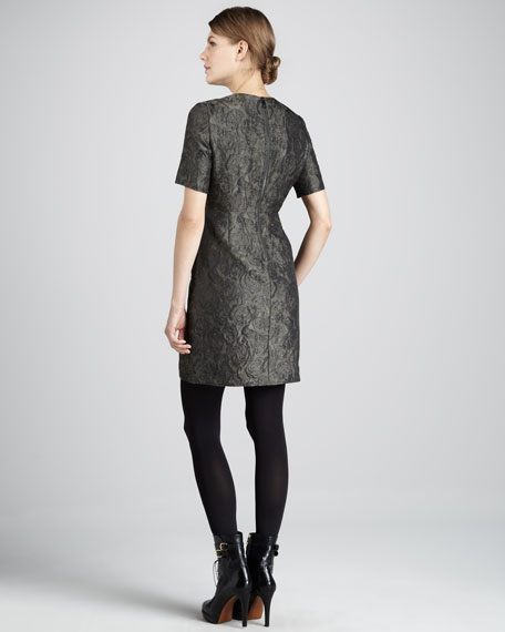 Short-Sleeve Jacquard Dress