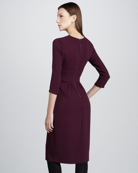 Twist-Front Three-Quarter-Sleeve Dress