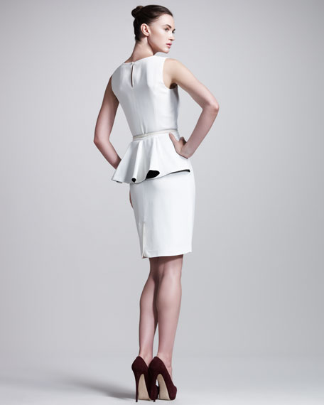 Belted Peplum-Back Dress