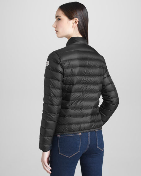 Short Lightweight Puffer Jacket, Black