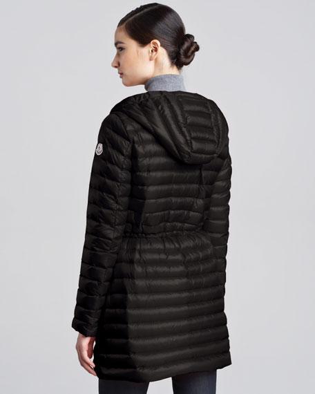 Mid-Length Puffer Coat, Black