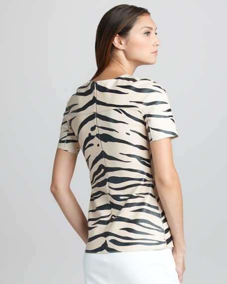 Zebra-Print Leather Tee