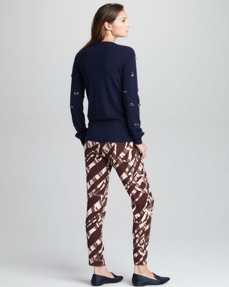 Tiger-Print Silk Pants