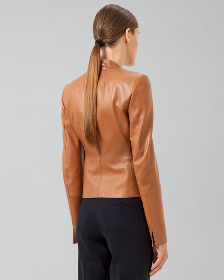 Cropped Leather Peplum Jacket