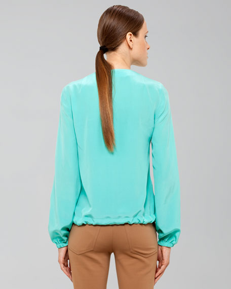 V-Neck Popover Top with Draw-Cord Waist
