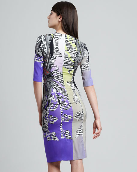 Paisley-Print Sheath Dress