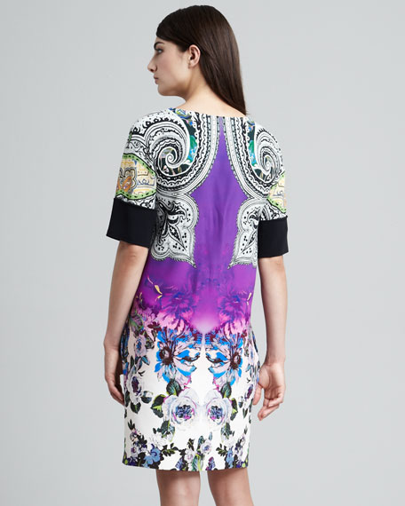 Paisley & Floral Printed Shift Dress
