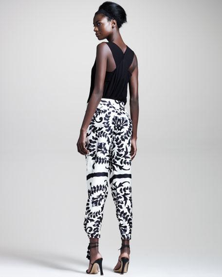 Autumn Flower-Print Silk Pants