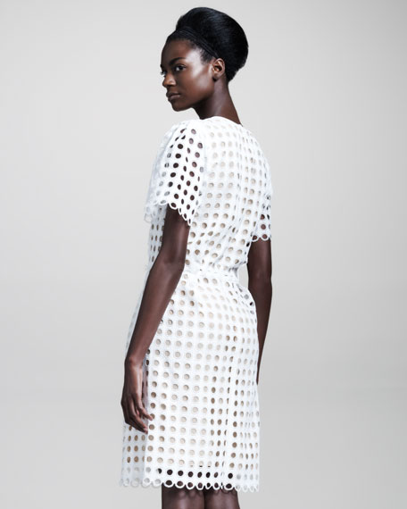 Short-Sleeve Allover Eyelet Dress
