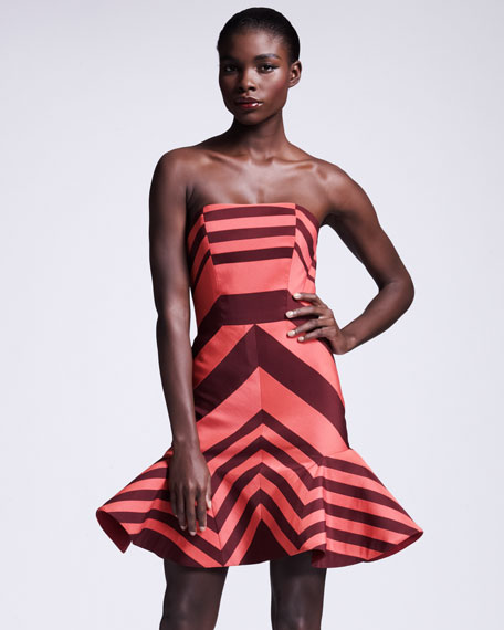 Flounce-Skirted Striped Dress