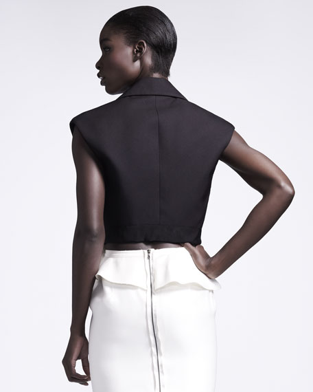 Bow-Front Sleeveless Jacket