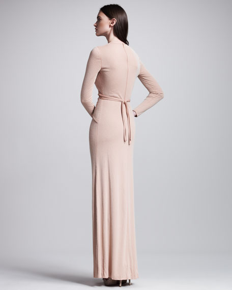 Beaded Long-Sleeve Gown, Poussin