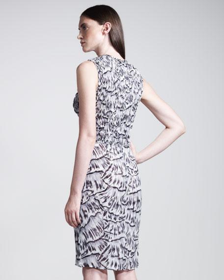 Smocked Abstract-Print Dress