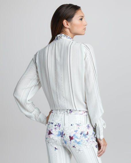 Floral-Print Striped Silk Blouse