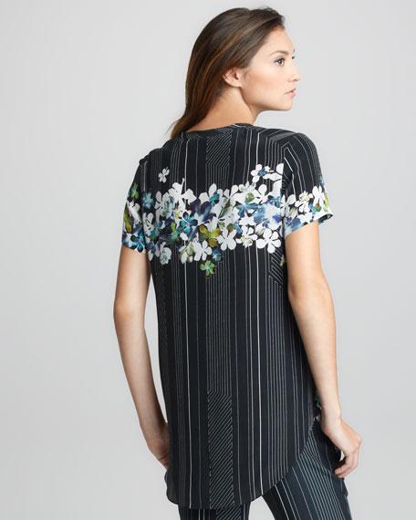 Floral/Stripe-Print Tee