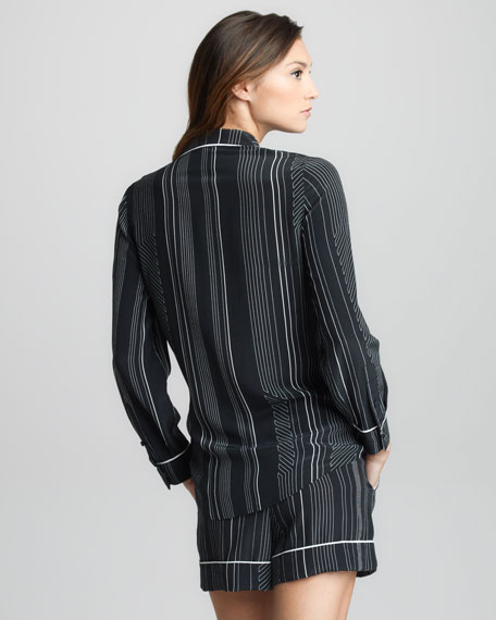 Pinstripe Silk Double-Breasted Pajama Jacket