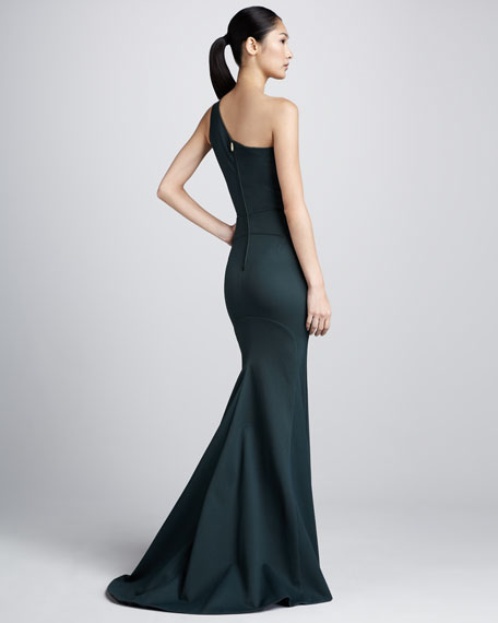 Bonded Jersey One-Shoulder Gown