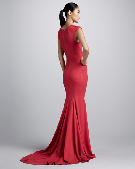 Bonded Crepe Cap-Sleeve Gown