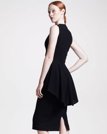 Peplum-Back Jersey Dress