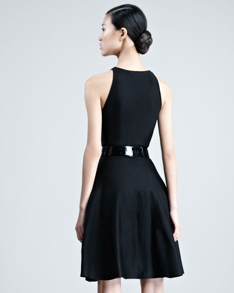 Sleeveless Knit Flounce Dress, Black
