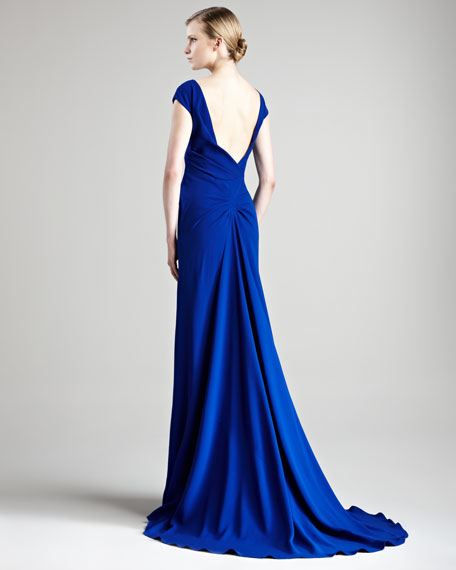Crepe V-Neck Gown
