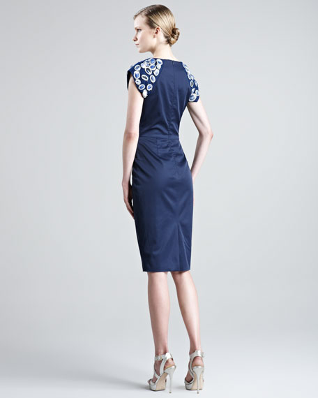 Embroidered Stretch-Sateen Dress