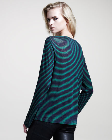 Striped Long-Sleeve Linen Tee, Ink/Vine