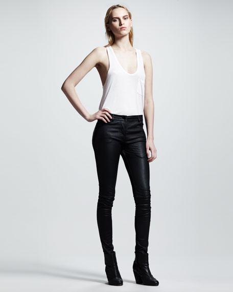Stretch-Leather Skinny Pants