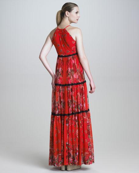 Printed Halter Maxi Dress
