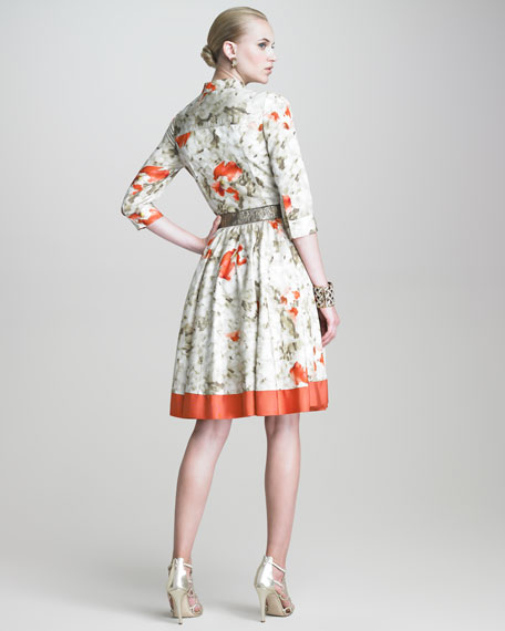 Floral-Print Faille Shirtdress