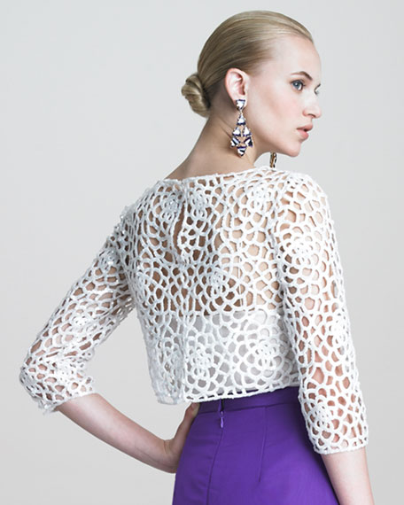 Camilla Guipure Lace Blouse with Sequins