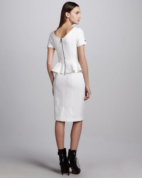 Soft Tailoring Short-Sleeve Peplum Dress