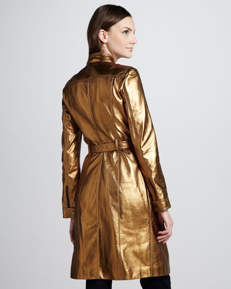 Metallic Leather Trenchcoat
