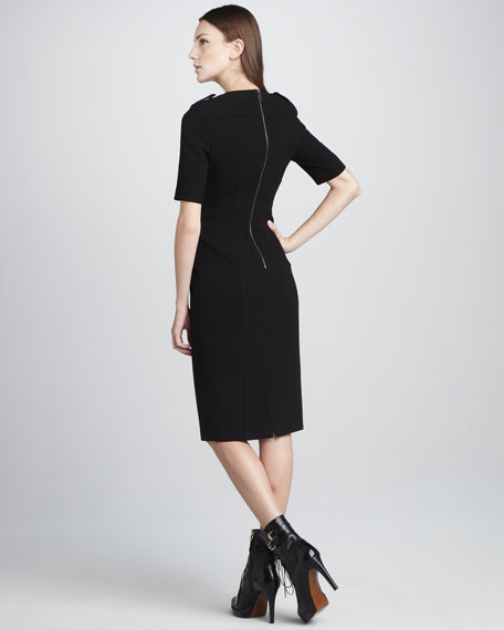 Techno-Crepe Short-Sleeve Dress