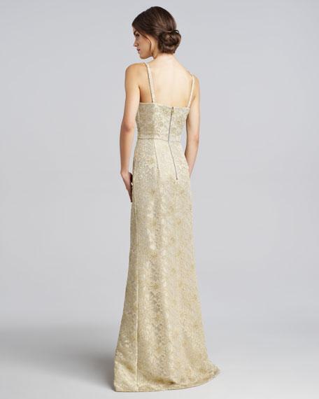 461fa973059ea Burberry Prorsum Metallic Lace Keyhole Gown