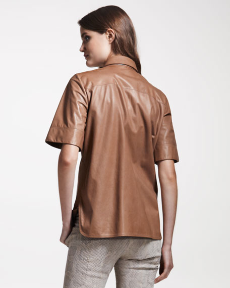 Short-Sleeve Leather Blouse