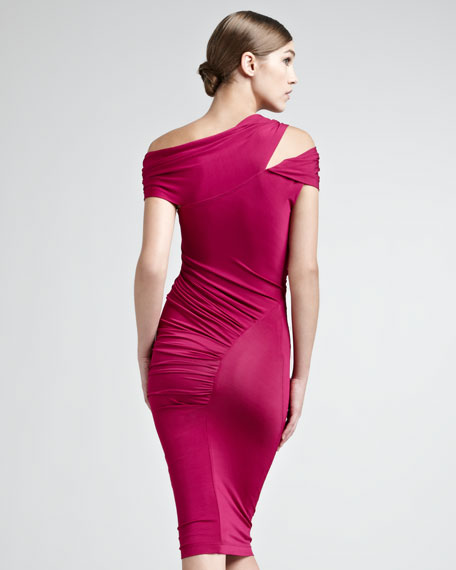 Draped Luster Jersey Dress