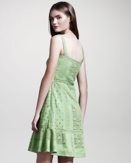 Lace Voulant Dress, Verde
