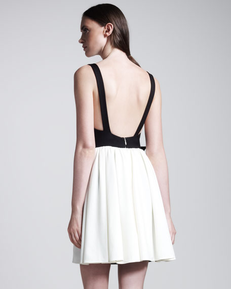 Techno Couture Bi-Color Open-Back Dress
