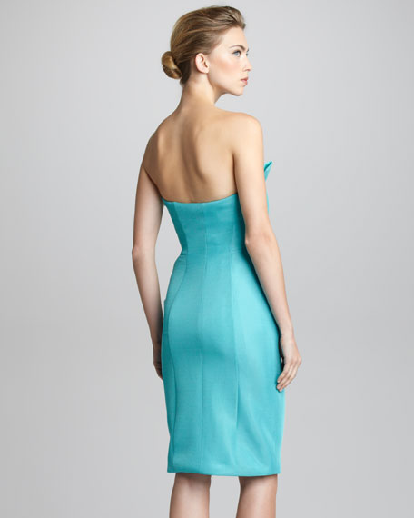 Fan-Pleated Strapless Bustier Dress